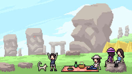 pixel art scene stone head landmark