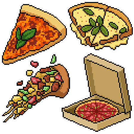 pixel art set isolated pizza meal Illustration