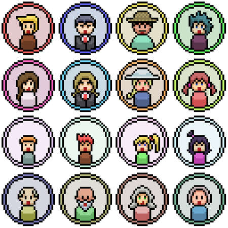 pixel art set isolated people face icon