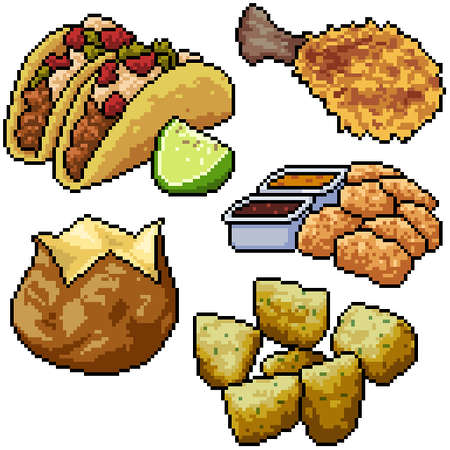 pixel art set isolated junk food snack