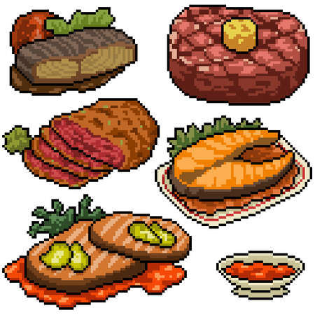 pixel art set isolated steak meal