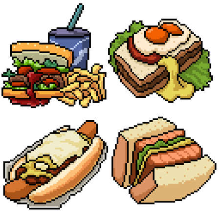 pixel art set isolated bakery sandwich meal