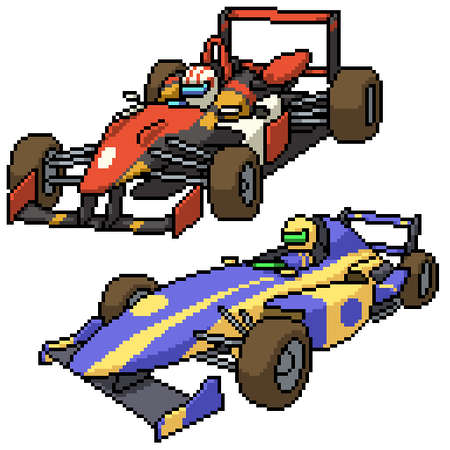 pixel art set isolated race car