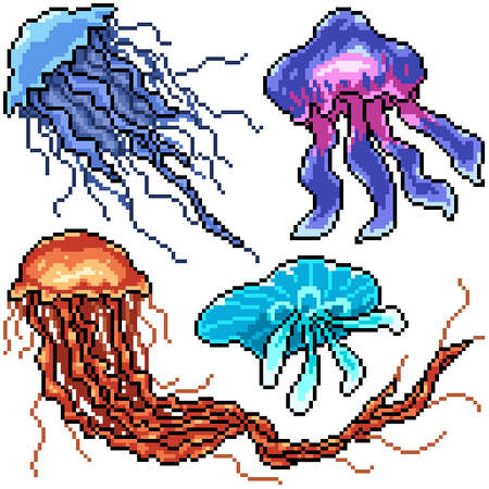 pixel art set isolated dangerous jellyfish Illustration