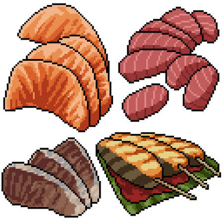 pixel art set isolated fish sashimi