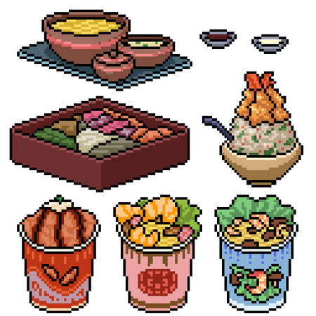 pixel art set isolated asian fast food