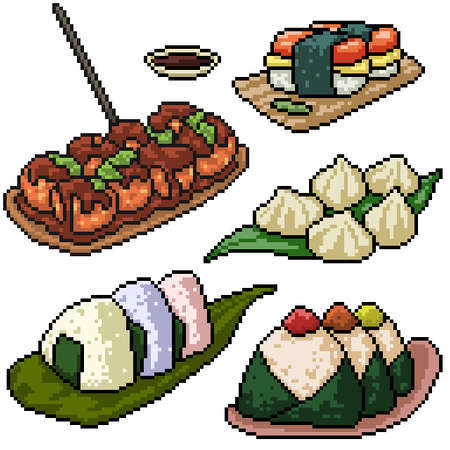 pixel art set isolated japanese snack