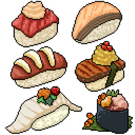 pixel art set isolated fancy sushi