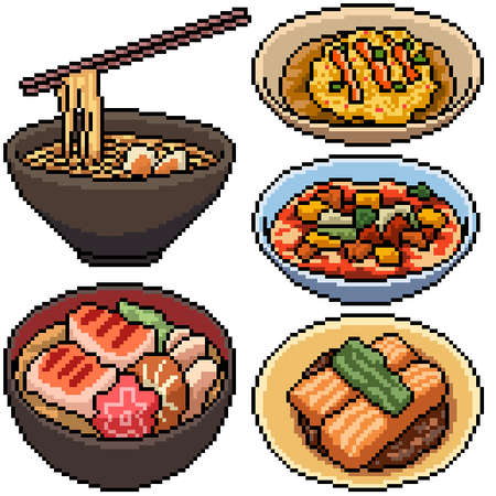 pixel art set isolated asian food Illustration