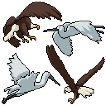 pixel art set isolated eagle egret flying
