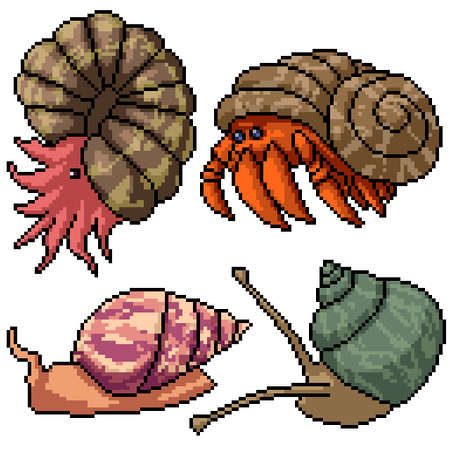 pixel art set isolated shell creature