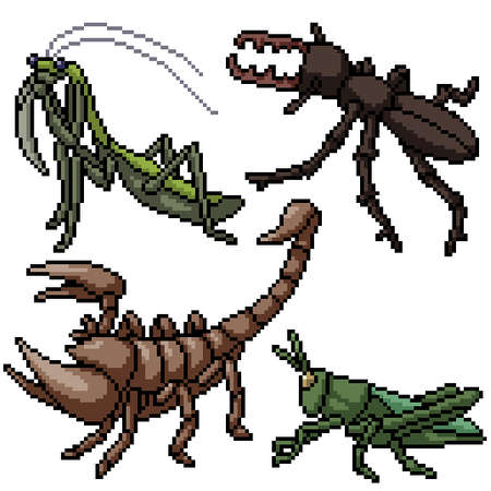 pixel art set isolated small insect