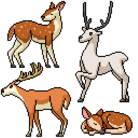 pixel art set isolated wild deer
