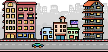 pixel art set isolated city street Illustration