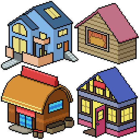 pixel art set isolated cozy house