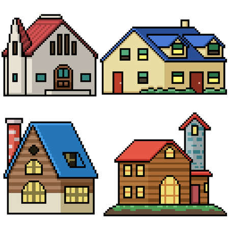 pixel art set isolated village house Illustration
