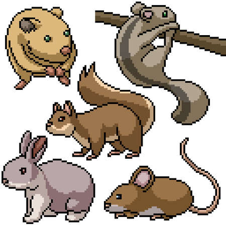 pixel art set isolated small rodents