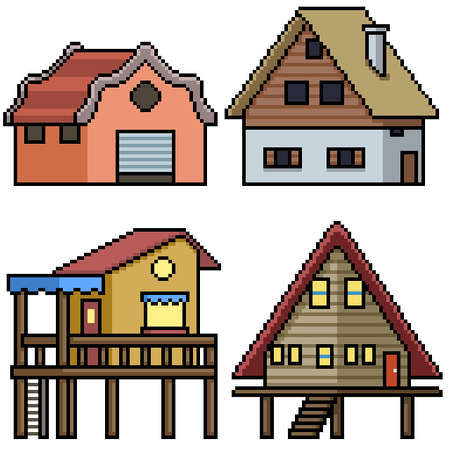 pixel art set isolated rural house