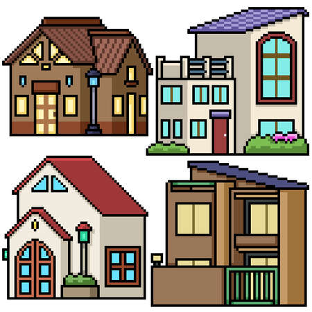 pixel art set isolated modern house