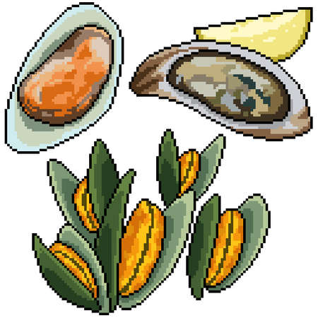 pixel art set isolated clam snack