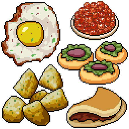pixel art set isolated breakfast snack