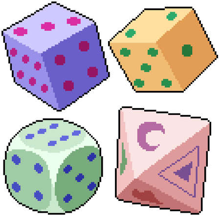 pixel art set isolated dice game