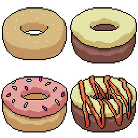 pixel art set isolated sweet donut