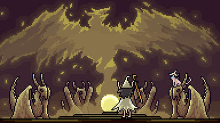 pixel art scene summon magic wizard