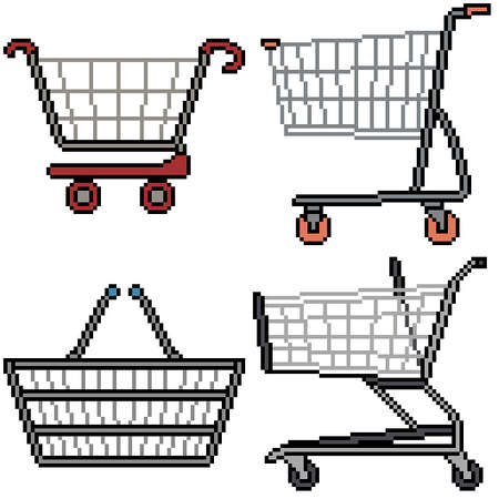 pixel art set isolated shopping cart Illustration