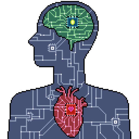pixel art set isolated human system