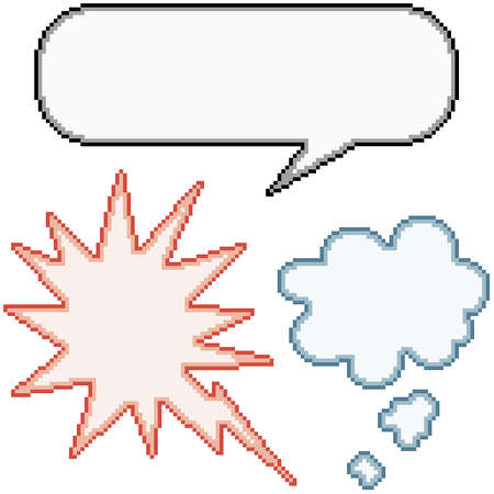 pixel art set isolated commic balloon