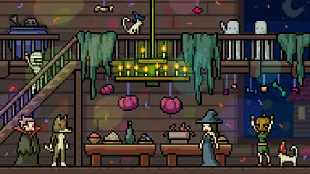 pixel art set isolated halloween party Illustration
