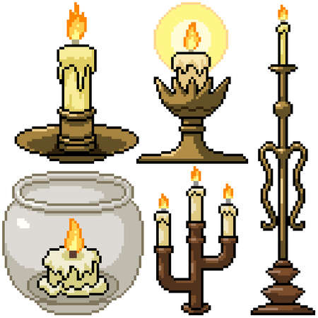 pixel art set isolated candle decoration