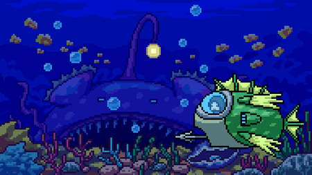 pixel art scene underwater adventure