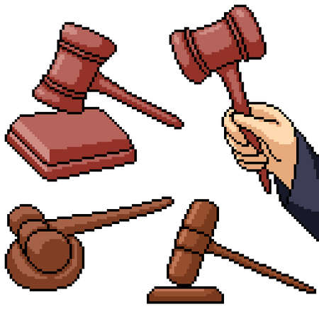 pixel art set isolated judge hammer