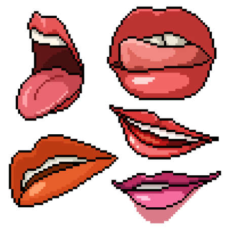 pixel art set isolated sexy lip