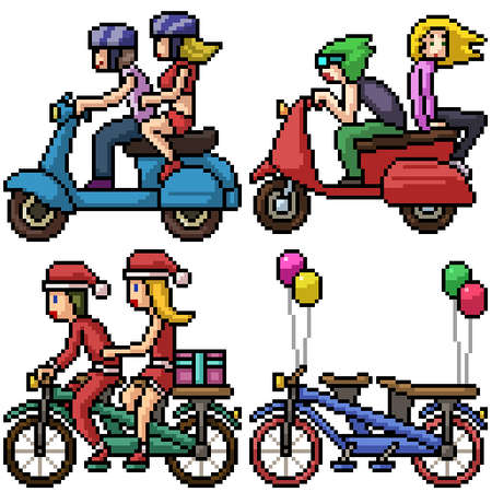 pixel art set isolated couple bike