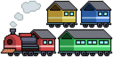 pixel art set isolated train toy