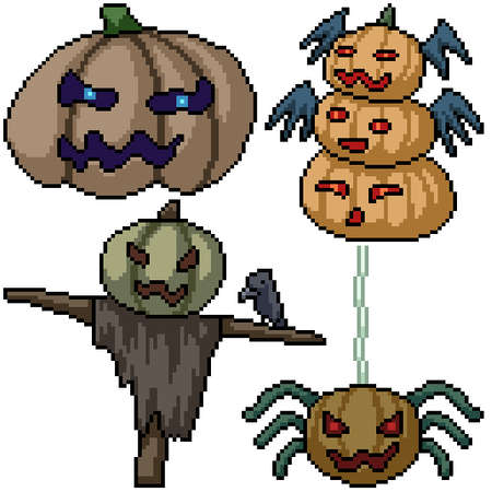 pixel art set isolated pumpkin monster halloween Illustration