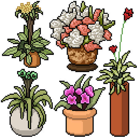 pixel art set isolated decoration plant Illustration
