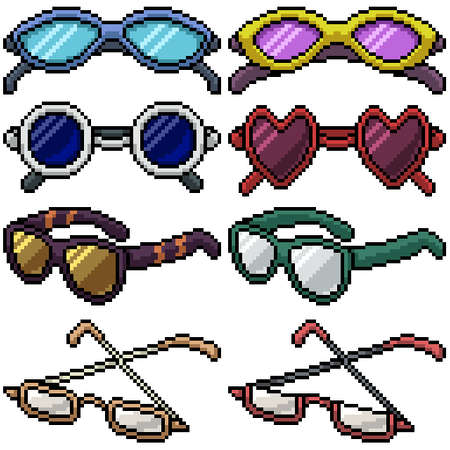 pixel art set isolated glasses fashion