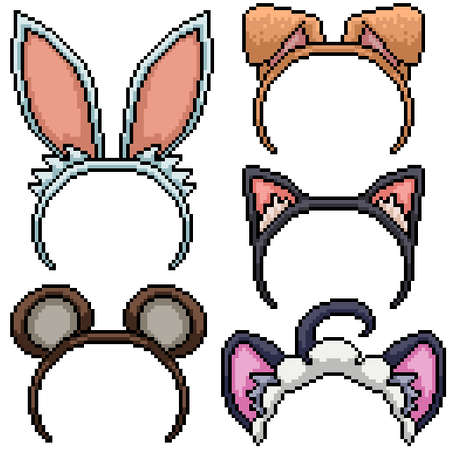 pixel art set isolated animal ear costume Illustration