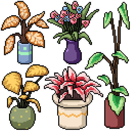 pixel art set isolated plant decoration
