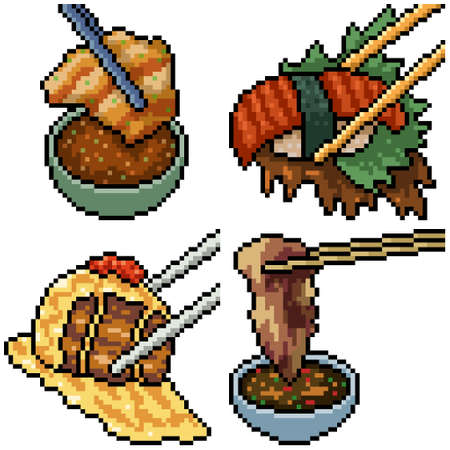 pixel art set isolated asian chopstick food