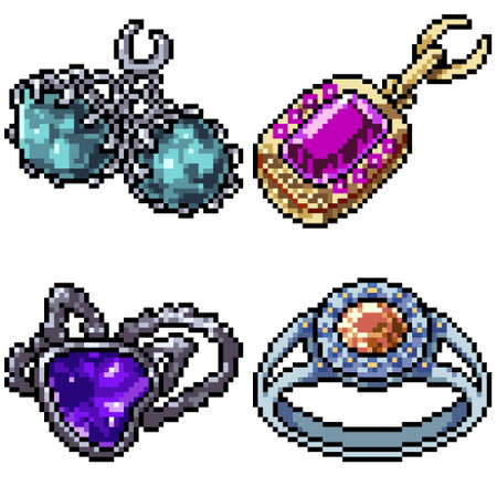 pixel art set isolated jewelry decoration