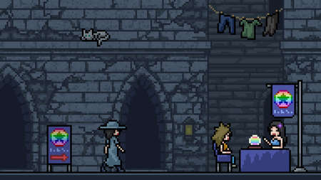 pixel art scene fortune teller alley