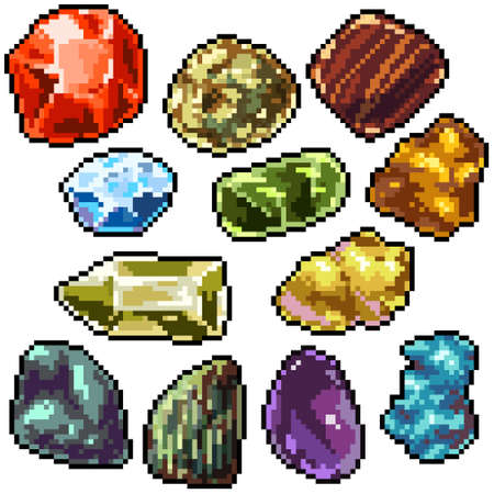 pixel art set isolated colorful gemstone