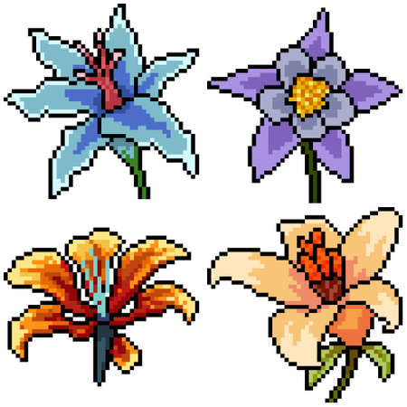 pixel art set isolated fancy flower Illustration