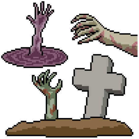 pixel art set isolated horror hand