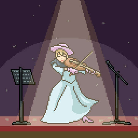pixel art scene woman playing violin Illustration